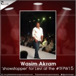 Wasim Akram sets fire to the ramp as the 'Showstopper' for #Levi at the #TFPW15.