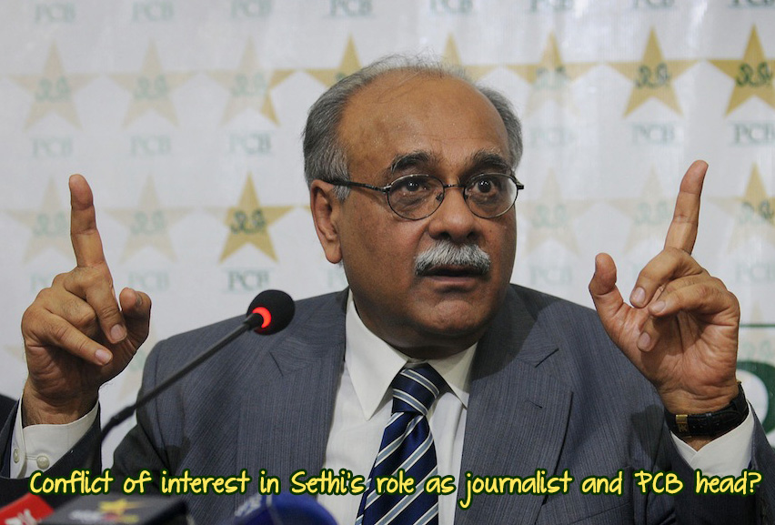 Conflict of interest in Sethi's role as journalist and PCB head?