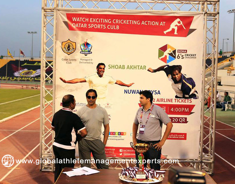 Shoaib Akhtar at the Doha 6's Challenge in Qatar