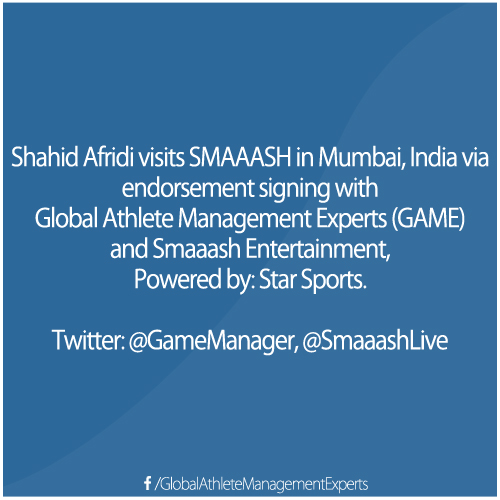 Shahid Afridi at SMAAASH in Mumbai, India