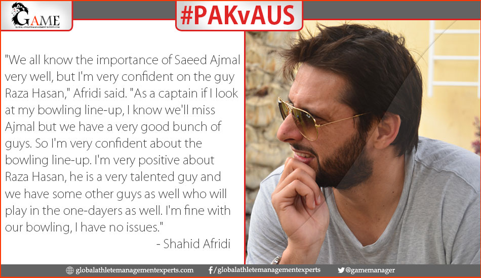 Afridi 'very confident' despite Ajmal absence