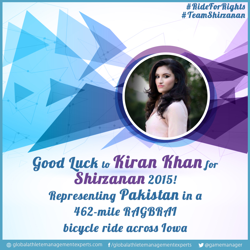 Press Release: Shirzanan Global – Kiran Khan represents Pakistan in a 462-mile RAGBRAI bicycle ride across Iowa