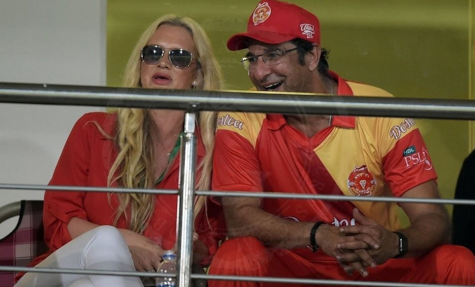 Wasim and Shaniera Akram at the Islamabad United Championship Celebration Match, 2016